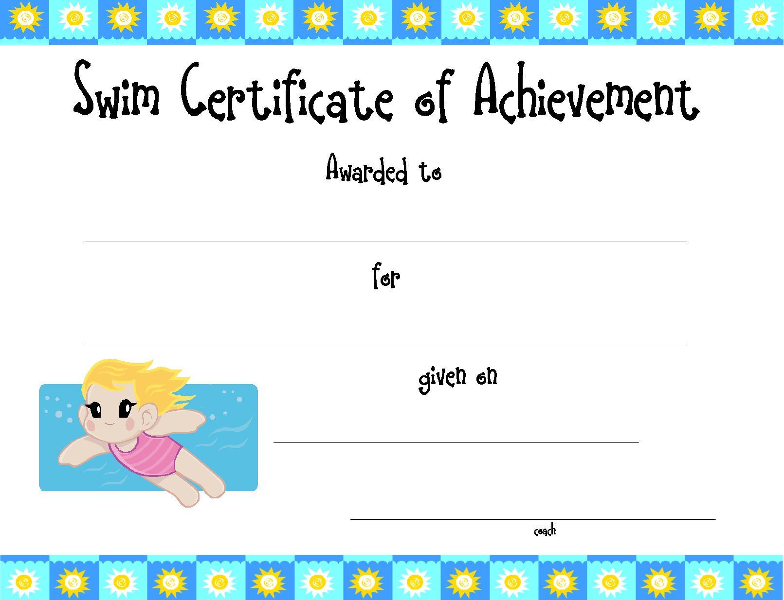 Swimming certificate template peelland fm swimming certificate template yelopaper Gallery