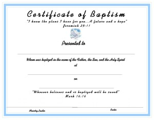 Free printable baptism certificates party invitations ideas for Free water baptism certificate template