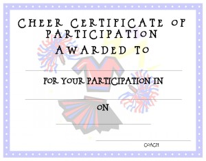 Free Kids Printable Awards Certificate Templates For Sports  Certificate Of Participation Free Template
