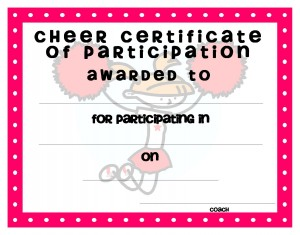 Certificate template for kids free printable certificate templates cheer participation certificate template yadclub Images