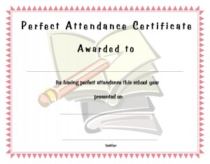 Perfect Attendance Certificate Template Perfect Score Certificate U2026
